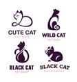 set logo cats pet emblem design vector image