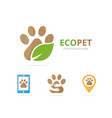 set of paw logo combination pet and eco symbol or vector image