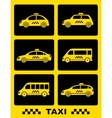 set of taxi car on black buttons vector image vector image
