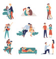 set of young loving couples on a date they kiss vector image vector image