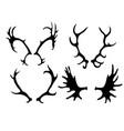 set silhouettes deer and elk horns vector image vector image