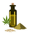 set with hemp seeps oil leaf and protein pile vector image vector image