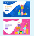 shopping web page people shopaholic and line art vector image vector image