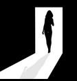silhouette in doorway vector image vector image