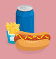 soda with hot dog and french fries fast food menu vector image
