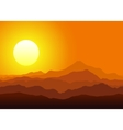 Sunset in the huge mountains vector image vector image