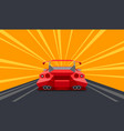 supercar rear perspective view on a race track vector image vector image