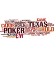 texas hold em text background word cloud concept vector image vector image