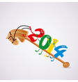 toy horse with new year 2014 riding numbers vector image vector image