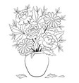 vase with flowers contours vector image vector image