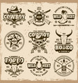 wild west and cowboys set emblems vector image