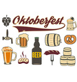 Set of beer icons Oktoberfest icons vector image