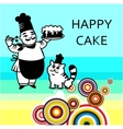 Chef with cake and cat vector image
