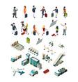 airport terminal people pilots flight attendants vector image vector image
