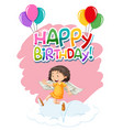 angel on birthday template vector image vector image
