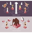 Antiquity Museum 2 Isometric Banners Set vector image vector image
