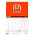 august 2019 wall calendar for 2019 year design vector image vector image
