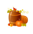 autumn fall grapes wine barrel icon for harvest vector image vector image