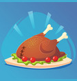 baked turkey for thanksgiving day traditional vector image vector image