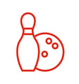 bowling icon line style vector image