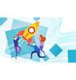 business people with space ship new startup idea vector image vector image
