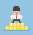 Businessman standing on blocks with good health vector image vector image