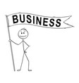 cartoon man or businessman holding long flag vector image