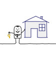 cartoon real estate agent with house