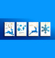 christmas and new year blue low poly deer card set vector image vector image
