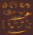 collection golden swirls and flourishes vector image
