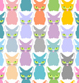 Color cat seamless texture Pattern of cute cats vector image