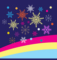 colored christmas snowflakes on a blue background vector image vector image