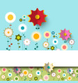 colorful flat flowers background vector image vector image