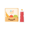 colorful lunchbox with fresh fruit sweet and vector image