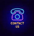 contact us neon label vector image vector image