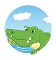 Crocodile on circle vector image