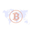 cryptocurrency on world map vector image vector image