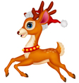Cute deer cartoon with red hat vector image vector image