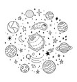 doodle solar system hand drawn sketch planets vector image