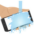 flat waterproof phone in man hand under the water vector image
