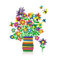 floral bouquet in vase plasticine sketch for your vector image vector image