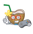 gamer cocktail coconut mascot cartoon vector image vector image