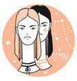 gemini girls sketch style woman with zodiac sign vector image
