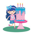 girl in the party with sweet cake and canddles vector image