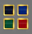 golden shiny frame button in four colors set vector image vector image