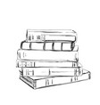 hand drawing a pile books sketching vector image