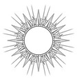 hand drawn etching style frame in a shape sun vector image vector image