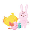 happy easter rabbit and chicken with eggs cartoon vector image