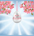 happy easter with cherry branches and easter egg vector image