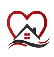 house real estate with heart icon vector image